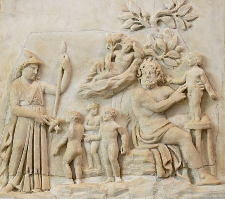 Athena watches Prometheus create humans.